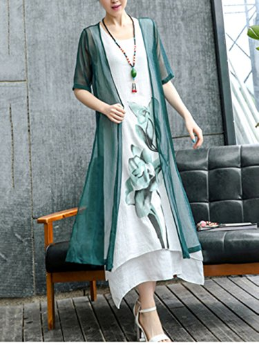 Retro Block Printed Honwenle Round Asymmetric Women's Long Cotton Dress Neck Linen Two Maxi Green Hem Piece Color nztrYzx