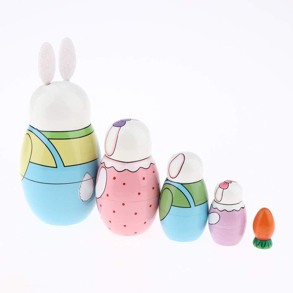 Russian Doll Mini Matryoshka Cartoon Cute Rabbit Stacking Toys Gifts for Kids Women LoveinDIY 5pcs Easter Bunny Nesting Doll Set