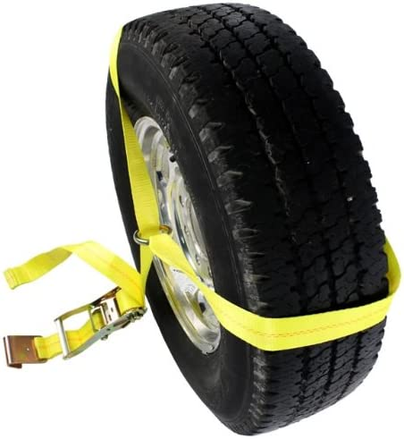 Working Load Limit of 3,333 Pounds Easy to Use Wheel Strap for Vehicle Tie Down Applications US Cargo Control Side Mount Wheel Net with Ratchet and Flat Hook