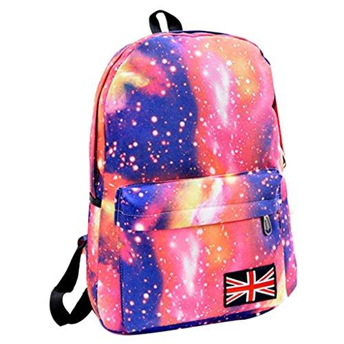Malloom Galaxy modelo Unisex viaje mochila lona ocio bolsa para la escuela (negro) rosa