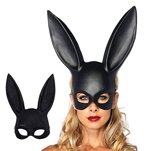 MostaShow Sexy Bunny Long Ears Masquerade Rabbit Mask Carnival Halloween Party Costume Props (Black) -