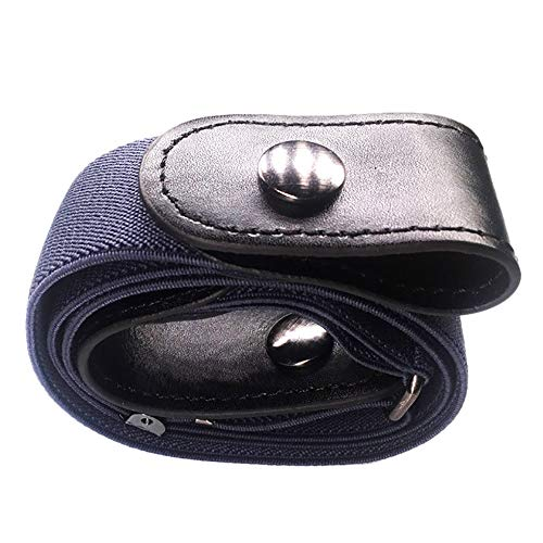 Fahion Durable Buckle-free Women Men Invisible Elastic Belt (Navy)