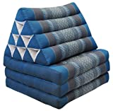 Thai mattress 3 folds with triangle cushion, blue/grey, relaxation, beach, pool, meditation garden (82603)