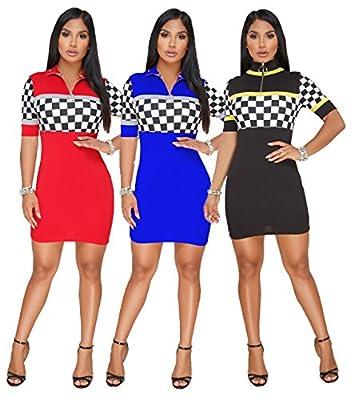 PlushZone Women's Sexy Stand Neck Midi Sleeve Bodycon T-Shirt Mini Dress For Sport
