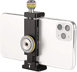 Metal Phone Clamp Tripod Mount Adapter - Smartphone Clip iPhone Mount Holder Bracket with Cold Shoe and Arca Swiss Quick Release Plate Compatible iPhone 11 Pro X/XR/Xs Max,10 8 7 Plus, Samsung Galaxy