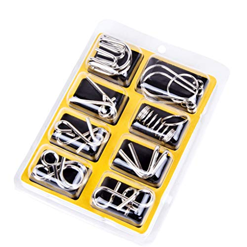 You May 8 Pcs/Set Chinese 9 Ring Intelligence Buckle Lock Toy Consisting of Nine Interlocking Links