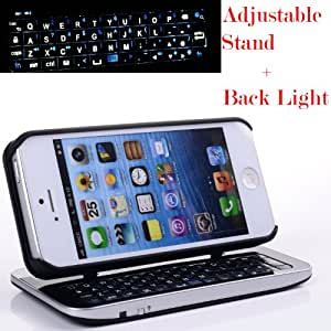 Case MaMa Multifunction Bluetooth Keyboard Case Sliding Function + Standing Function + Backlight Function + 12 Button Specially Designed for Iphone 5 Iphone5 I5 - Black