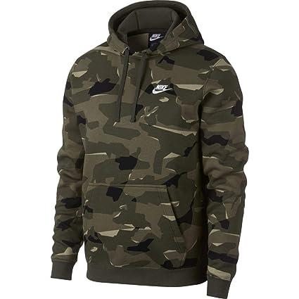 Nike M NSW Club Camo Hoodie PO BB - Sudadera, Hombre, (Cargo Khaki