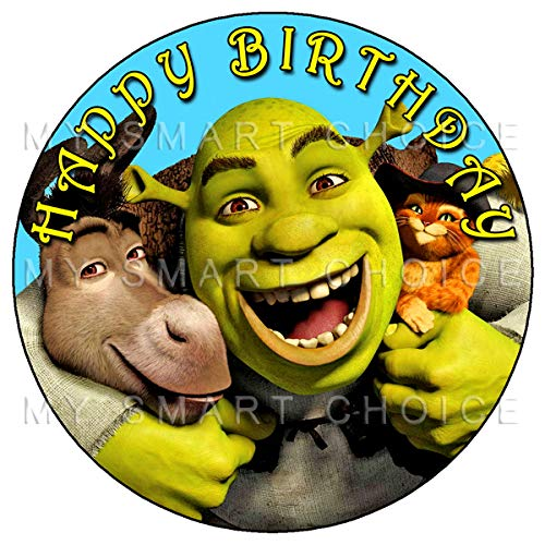 7.5 Inch Edible Cake Toppers – Shrek, Donkey & Puss Themed Birthday Party Collection of Edible Cake Decorations -
