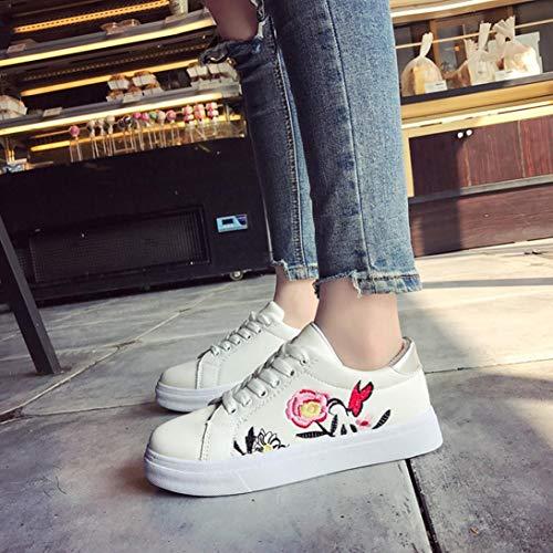 Fleurs Plates De Brodées Femmes Chaussure Running Leisur Blanches Décontractées Familizo Broder À Sneakers Sport Blanc Blanc Chaussures UYnpfqZO