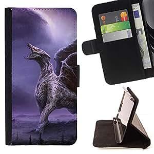 Momo Phone Case / Flip Funda de Cuero Case Cover - Dragón alas púrpuras del relámpago Alas - Samsung Galaxy A3