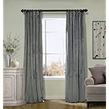 ChadMade 100Wx84L Inch Solid Matt Luxury Heavyweight Velvet Curtain Drape with Blackout Thermal Lining Flat Hooks Heading for Track Natural Grey (1 Panel)