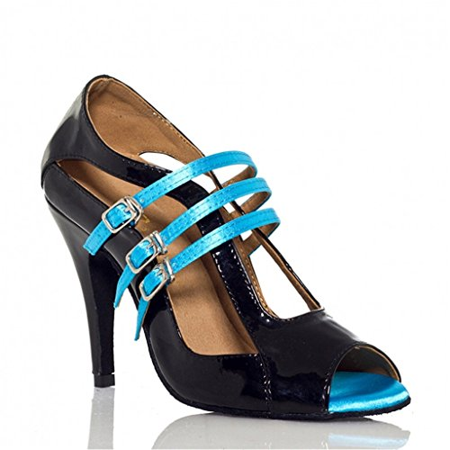 Shoes Modern Ballroom Dance Women's Monie Strap Blue Salsa Ankle Unique Tango zgwPI