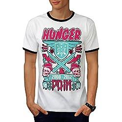 Hunger Pain No Gain Skull Head Men L Ringer T-shirt | Wellcoda