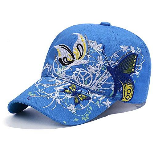 Qchomee Sombrero de béisbol con diseño de mariposa y mariposa para mujer, ideal para viajes, deportes, playa, protección solar, fiesta, etc. azul