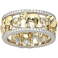 Yupha Womens Elephant Caravan Ring Crystal Gold Plated Fashion Ring Size 5-11 (6)