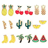 9 Pairs Summer Fruit Theme Enamel Stud Earrings Set Girls