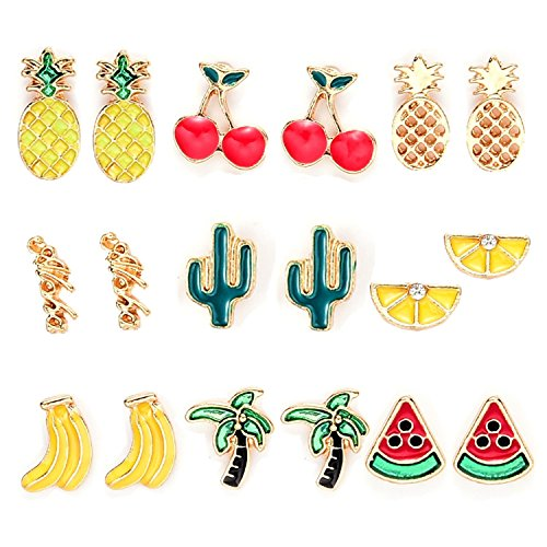 9 Pairs Summer Fruit Theme Enamel Stud Earrings Set for Girls ()