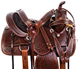 "AceRugs 14″ 15"" 16"" 17"" 18"" All Purpose Premium Hand Carved Western Pleasure Trail Leather Horse Saddle Barrel Racing Endurance Antique Oil TACK Set Bridle Breast Collar Headstall"