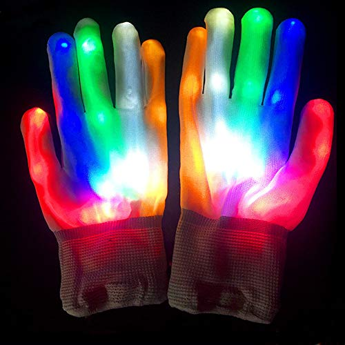 ABDQPC LED Gloves Multi-Color Changing Flashing Skeleton Gloves for Christmas Halloween Costume Party Concert 1 Pair (Build A Skeleton Halloween Game)