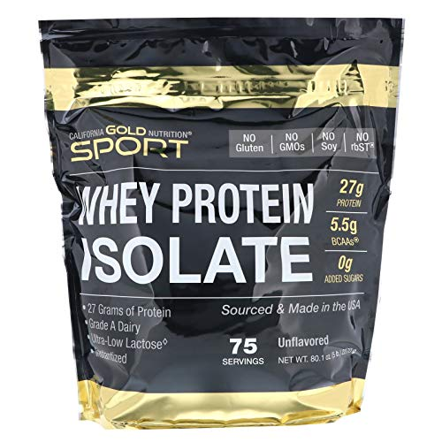 California Gold Nutrition, Whey Protein Isolate Instantized, Ultra-Low Lactose, Unflavored, 75 Servings 5 lbs 2270 g , Egg-Free, Fish Free, Gluten-Free, Shellfish Free, Soy-Free, Sugar-Free, CGN