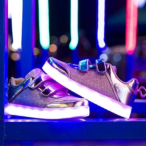Luminosi USB Taglia Scarpe Bambina Sneakers Nella Colore Luci di Tennis Scarpe Mejor Bambino Suola Unisex Led Luce Con 7 Luci Una Sneakers Carica Scarpe Scarpe Bright dei Con Pink Shoes LED DoGeek bambini tgxZPwqxY