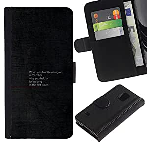 YiPhone /// Tirón de la caja Cartera de cuero con ranuras para tarjetas - Consejos motivacionales - Samsung Galaxy S5 V SM-G900