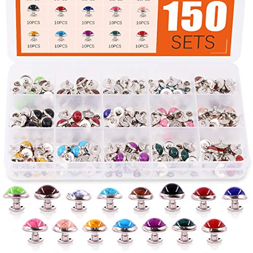 Rustark 150 Sets Turquoise Rapid Rivets 15 Colors Double Cap Spots Studs Button Metal Stud Eyelets Repair Fasteners Snap Buttons for DIY Leather-Craft Bag Shoes Bracelet Dog Collar (10MM)