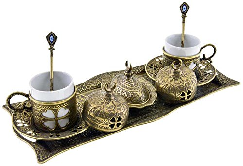 Premium Turkish Greek Arabic Coffee Espresso Serving Set for 2,Cups Saucers Lids Tray Delight Sugar Dish 11pc (Antique Brass)