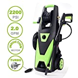 PowRyte Elite Electric Pressure Washer, 2200PSI 2.0GPM Power Washer with Hose Reel, Extra Turbo Nozzle, Induction Motor