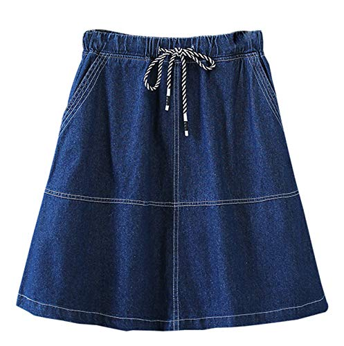 Women's Casual Elastic Waist A-Line Denim Jean Skirt (Dark Blue, XL) ()