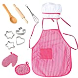 FunsLane Chef Set for Kids with Apron for Girls, Chef Hat, Cooking Costume Play Set for Toddler Pretend Play Children Career Role Play Great-Gift, 11 Pcs Accessories