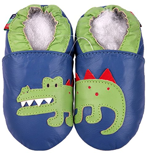 Carozoo Krokodil Blue S Baby Schuhe Leder Hausschuhe Sohle