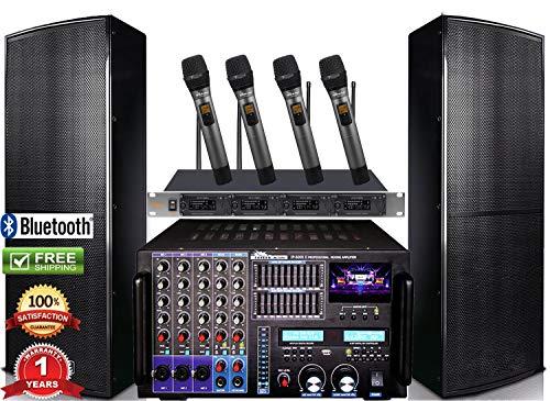 Bundle IDOLpro IPS-DELUXE I 1500W Premium Loudspeakers & Mixing Amplifier IP-7000 & Quad Wireless Microphones ()