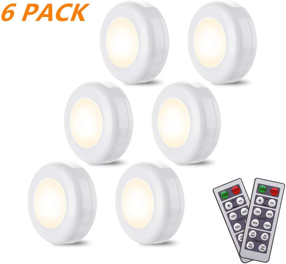 YLCVBUD 6 Pack Under Cabinet Lighting LED Closet Lights Wireless LED Puck Lights with Remote Control Timer Function Battery Powered Dimmable, 4000k Natural White