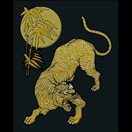 Soul Of Japan Sticker/Decal for Accessories or Decoration-Tiger&Moon: Gold!!
