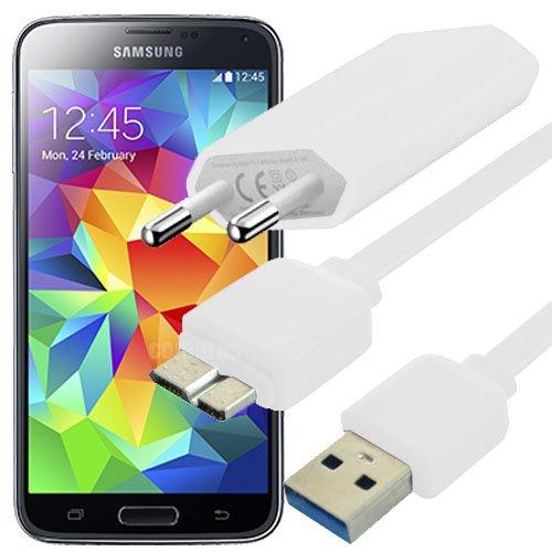 USB Cargador Cable de datos Fuente Blanco White Samsung ...