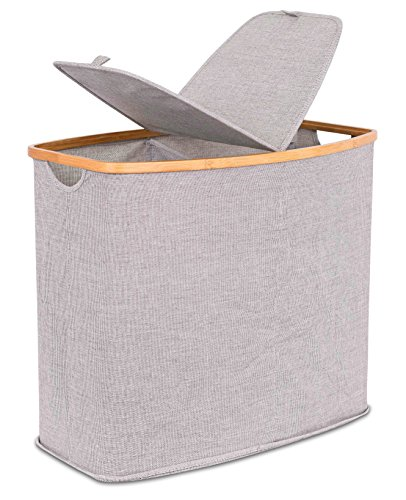 BirdRock Home Divided Bamboo & Canvas Hamper | Double Laundry Basket with Lid | Modern 2 Section Foldable Hamper | Cut Out Handles | Grey Narrow Design | Great for Kids Adults