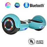 "NHT 6.5"" inch Aurora Hoverboard Self Balancing Scooter with Built-in Bluetooth Speaker Colorful LED Wheels and Lights- UL2272 Certified … (Carbon Fiber Blue)"