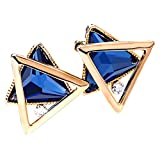 Merdia Stud Earrings for Girl with Charming Triangle Glass on Earrings Blue