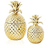 Two's Company 51312 Golden Hospitality Set of 2 Pineapple Jars