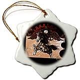 3dRose Heike Köhnen Design Steampunk - Steampunk horse on vintage background - 3 inch Snowflake Porcelain Ornament (orn_287315_1)