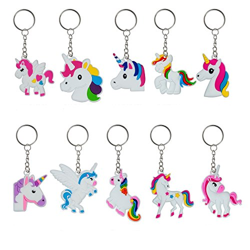 YUEAON 30 pack Rainbow Unicorn Keychain Party Favors Supplie