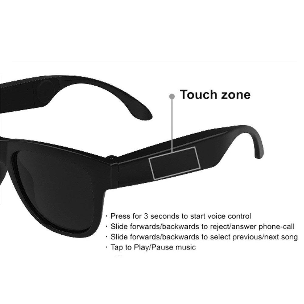 CLCZN Gafas De Conducción Ósea, Deportes Auriculares Polarizados Gafas De Sol Música Estéreo Inalámbrico Bluetooth Wireless Headset Con MIC Mano-Libre ...