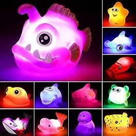 Bath Toys, 12 Pcs Light Up Ocean Sea Animal Set, Flashing Colorful LED Light Floating Bathtub Toys for Baby Infant Kid…