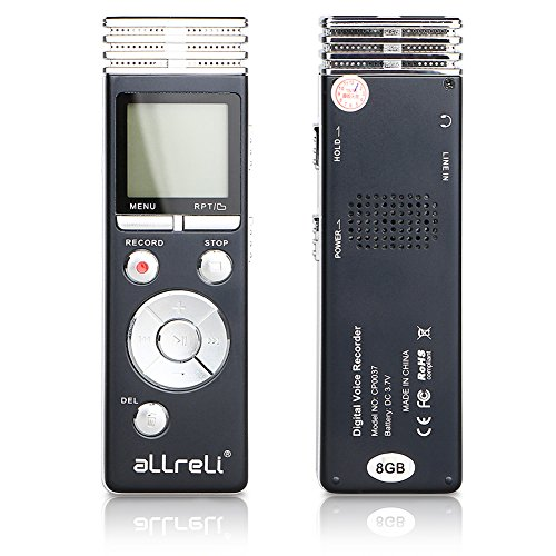 8GB Digital Voice Recorder, aLLreLi CP0037 Dictaphone w/ MP3 Player SPY [1165Hr] [Rechargeable] Perfect for Recording Interviews, Meetings, Students Learning & Conversation