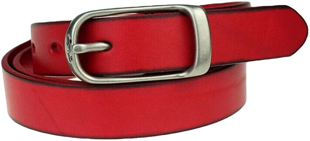 Mens Casual Leather Belt Belts Retro Simplicity-Red