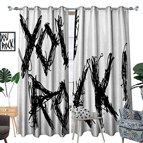 homehot Quote Patterned Drape for Glass Door Motivational Phrase Positive Life Day Inspiring You Rock Slogan Teen Print Waterproof Window Curtain Black and White