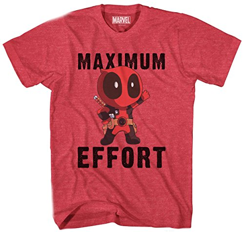 (Marvel Deadpool Chibi Maximum Effort Men's T-Shirt (Heather Red, Extra)