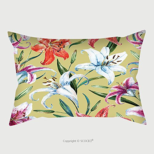Custom Microfiber Pillowcase Protector Watercolor Flower Pattern Floral Pattern White And Orange Lily Plant Wallpapers Retro 327622370 Pillow Case Covers Decorative (12l Lily)